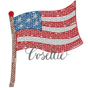 American stipple flag embroidery design, Stipple flag, July 4th, Summer, Fourth of July, Memorial Day, Vintage stitch embroidery design, Applique, Machine embroidery design, Blanket stitch, Beanstitch, Vintage