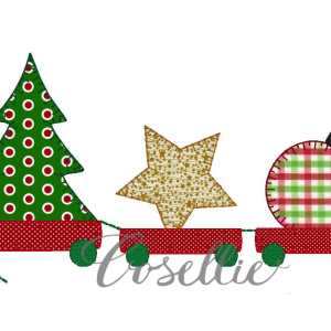 Christmas ornaments train embroidery design, Vintage Christmas, Winter, Vintage stitch embroidery design, Applique, Machine embroidery design, Blanket stitch, Beanstitch, Vintage, Christmas tree, pull toy, wagon