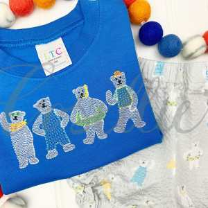 Summer polar bears embroidery design, Sketch bears, Polar bear, Pool, Snorkle, Under the sea, Water, Ocean, Summer, Beach, Spring, Vintage stitch embroidery design, Applique, Machine embroidery design, Blanket stitch, Beanstitch, Vintage, Classic