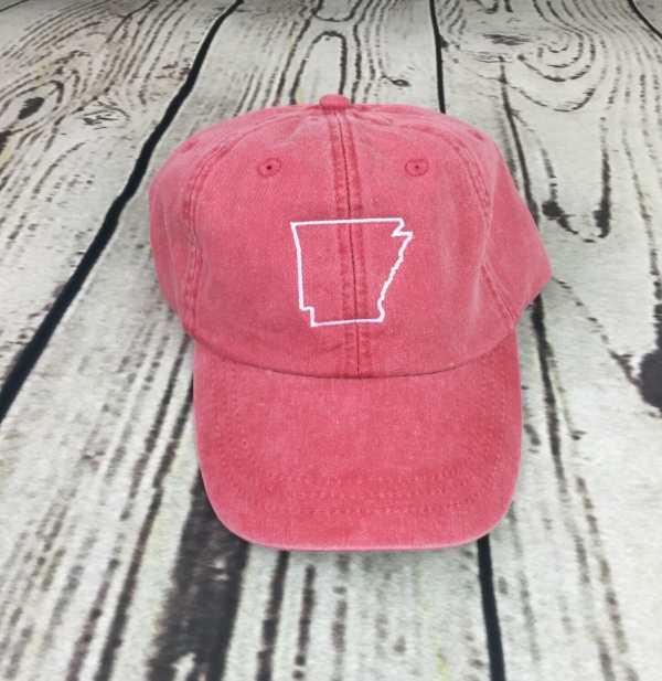 Arkansas baseball cap - state outline, Arkansas baseball cap, Arkansas baseball hat, Arkansas hat, Arkansas cap, State of Arkansas, Personalized cap, Custom baseball cap