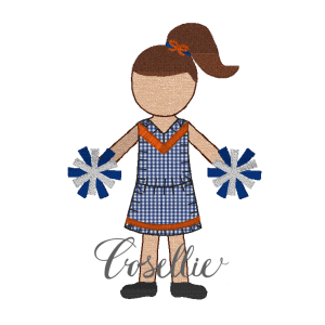 Cheerleader embroidery design, Football, Cheer, Girl, Vintage stitch embroidery design, Applique, Machine embroidery design, Blanket stitch, Beanstitch, Vintage