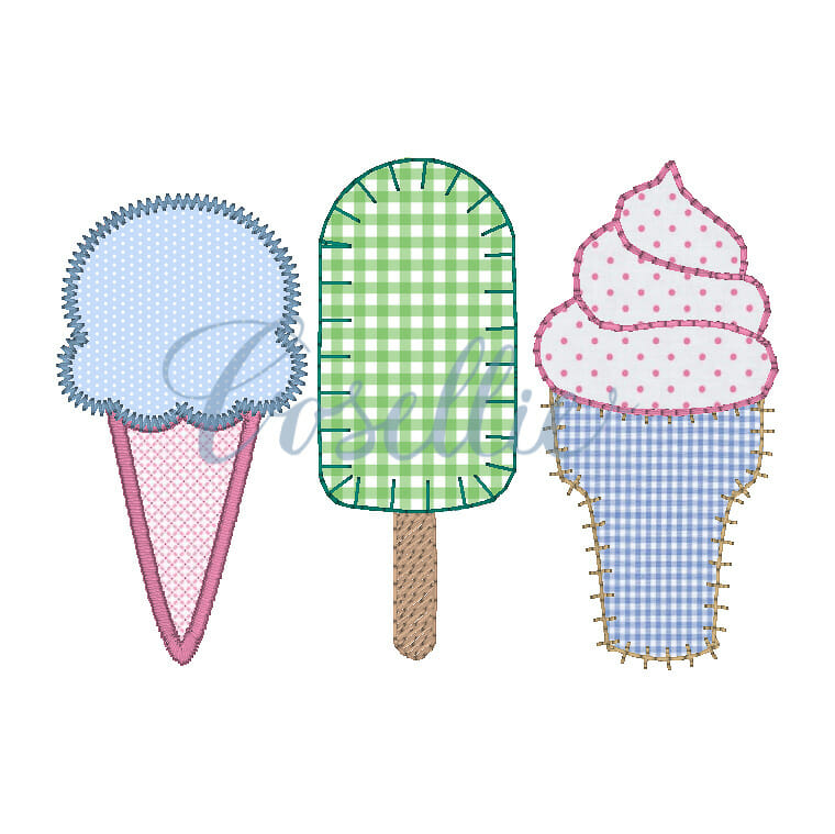 Ice Cream Applique Embroidery Design Machine Embroidery Design