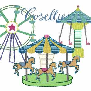 Carnival embroidery design, Carnival, Swings, Carousel, Baby, Vintage stitch embroidery design, Applique, Machine embroidery design, Blanket stitch, Beanstitch, Vintage