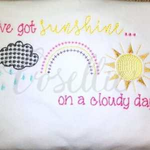 Weather trio embroidery design, Weather embroidery design, Sunshine, Clouds, Rainbow, Spring, Vintage stitch embroidery design, Applique, Machine embroidery design, Blanket stitch, Beanstitch, Vintage