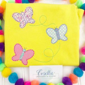 Butterflies applique embroidery design, Vintage butterflies, Butterflies, Spring, Bugs, Vintage stitch embroidery design, Applique, Machine embroidery design, Blanket stitch, Beanstitch, Vintage