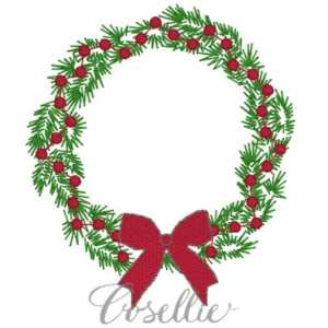 Christmas wreath embroidery design, Vintage wreath embroidery design, Quick stitch wreath, Bean stitch wreath, Vintage wreath, Machine embroidery