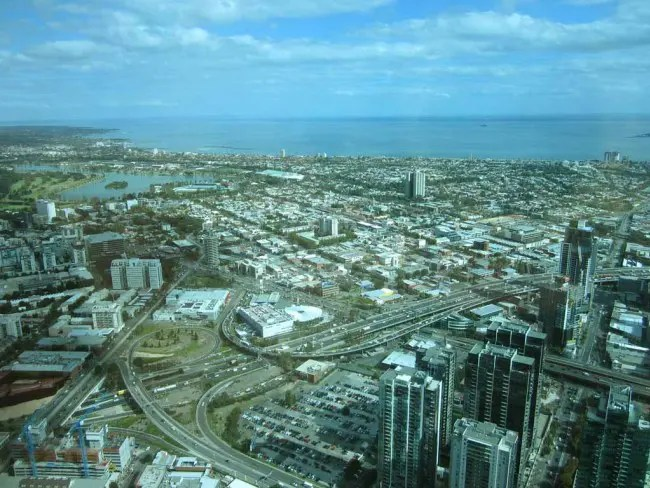 A bird's eye view of Melbourne from the Eureka Skydeck.