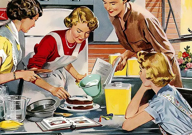 A vintage illustration of housewives happily cooking.