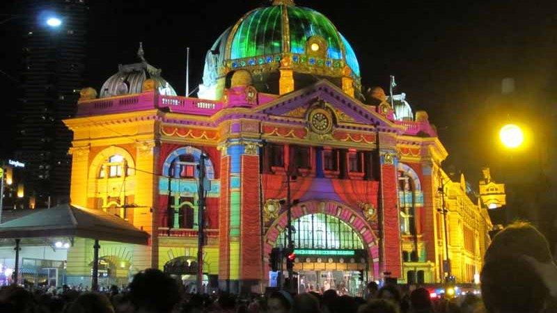 Flinders Street Station lit up for White Night Melbourne.