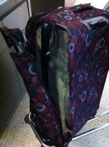 A broken suitcase.