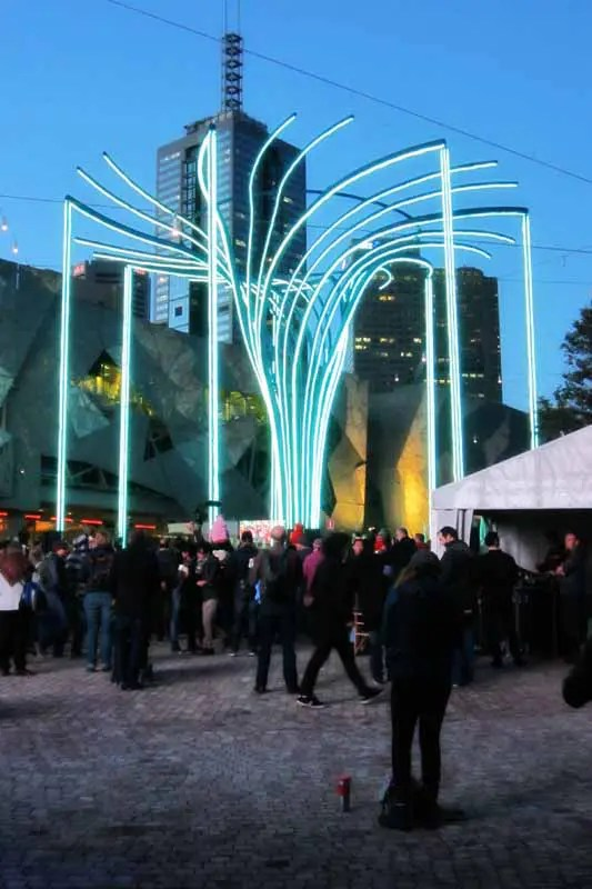The Helix Tree at Federation Square for the Light in Winter celebration.