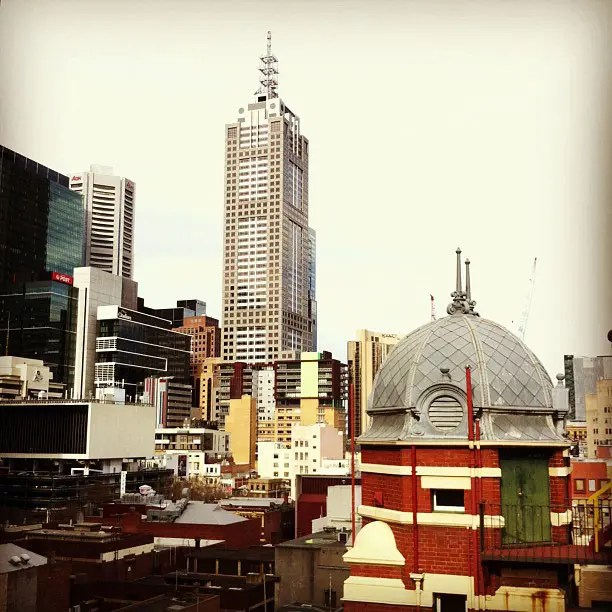A view of the CBD from the rooftop terrace of the Queen Victoria Women's Centre