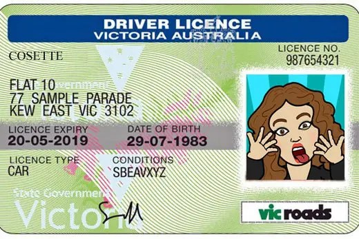 Mockup of a Vic Roads drivers license.
