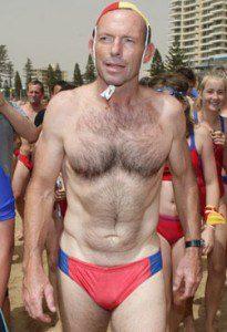 Australian Prime Minister Tony Abbott wearing budgie smugglers.