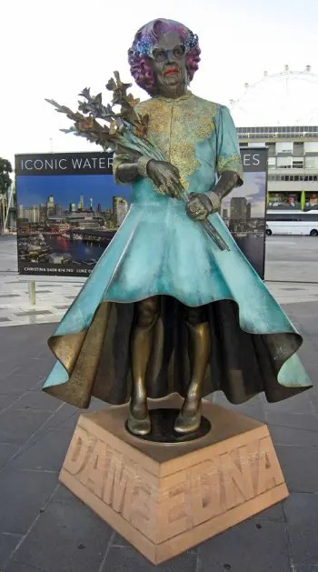 A statue of Dame Edna in Docklands.