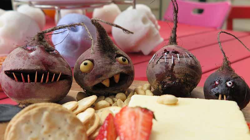 Halloween beetroot heads.
