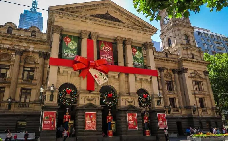 Melbourne Town Hall wrapped for Christmas.
