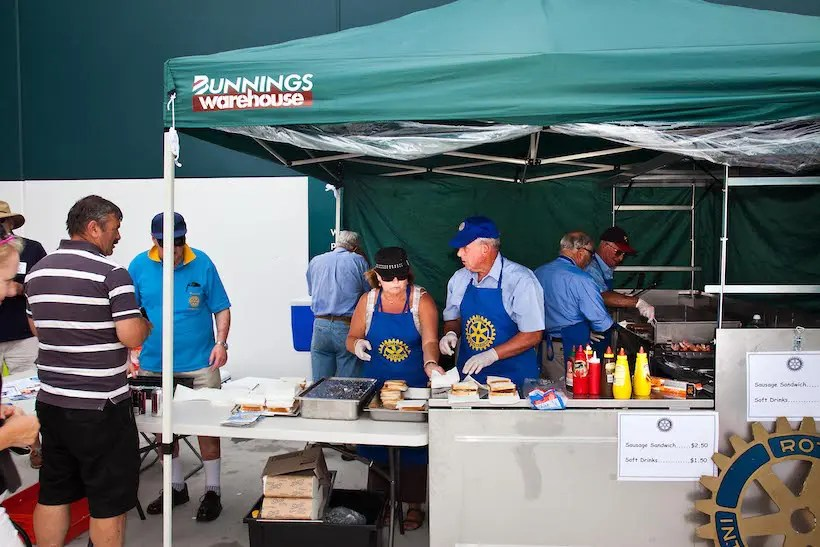 A Rotary Club sausage sizzle at Bunnings Warehouse.