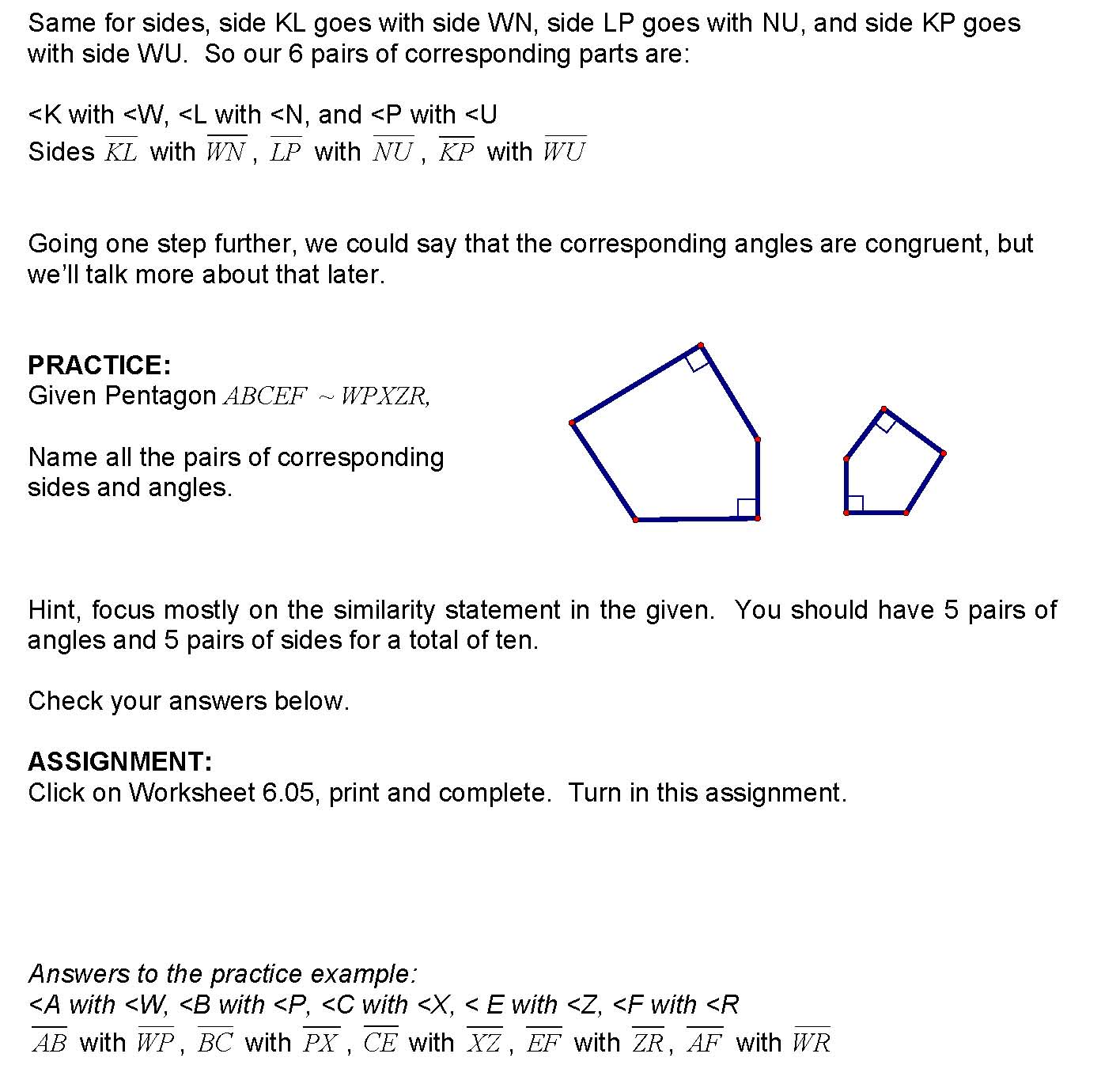 Cosgeometry Lesson 6 05 Corresponding Parts Of Similar Polygons