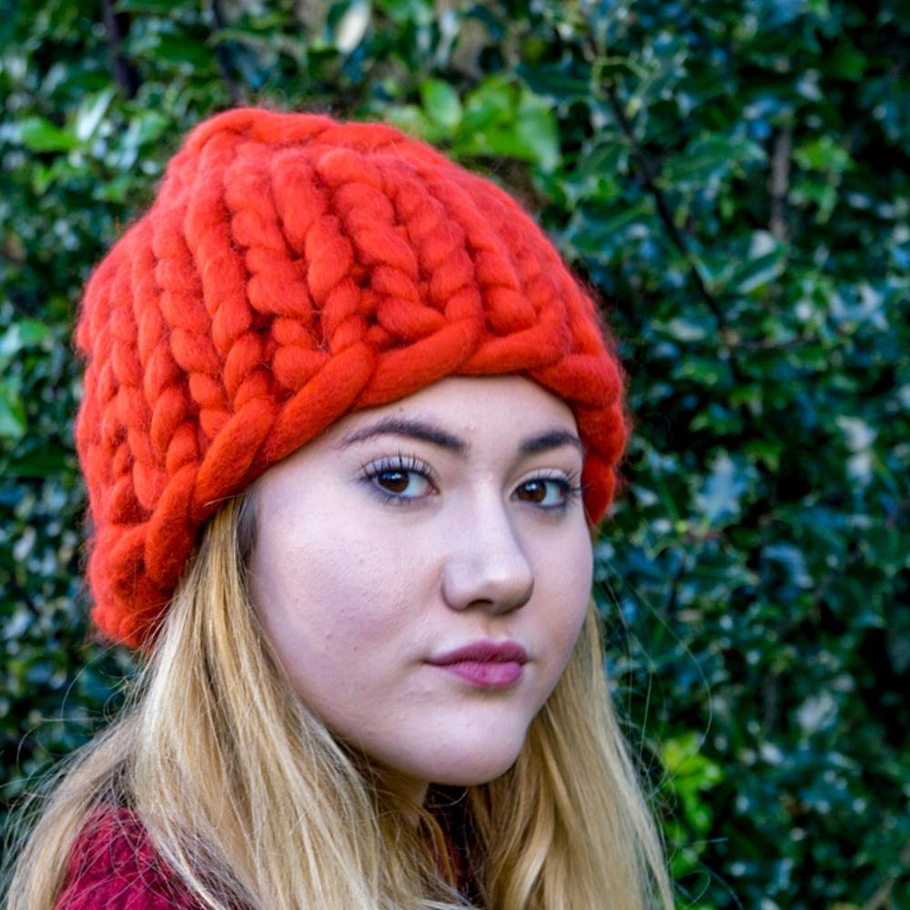 Super Chunky Knit Santa Hat Roving Hat in Merino Wool  1cf9aafd852