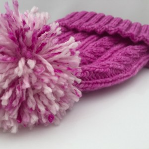merino wool cable pom pom hat