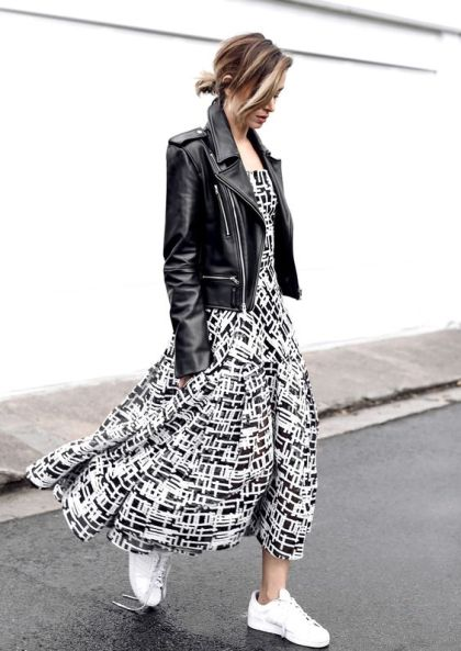 long-dress-and-leather-jacket-with-white-sneakers
