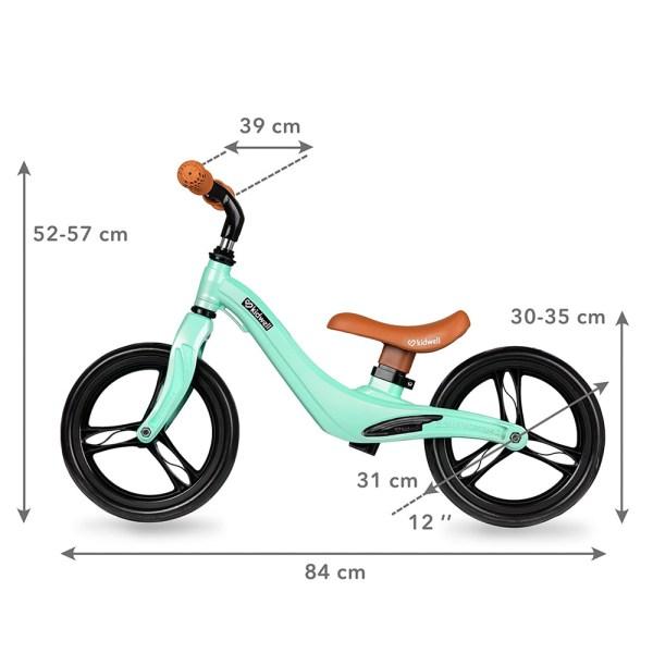 Bicicleta sin pedales verde menta y negro, 12 pulgadas - Kidwell Force
