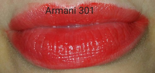 Giorgio Armani Rouge Ecstasy Lipstick - Gio No. 301 - swatched on lips with flash