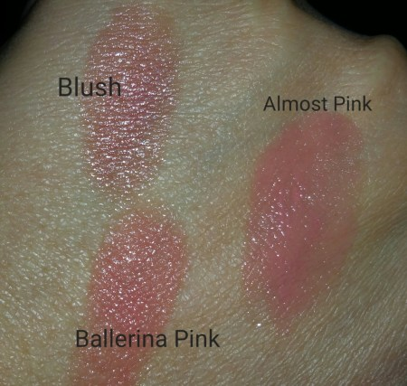 Bobbi Brown Nourishing Lip Colors for comparison - Blush, Almost Pink, & Ballerina Pink - with flash