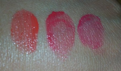 Cle de Peau Beaute Extra Rich Lipstick Sampler - Colors 113, 212, and 315 - swatched with flash on hand, left to right