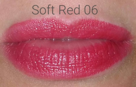 Sephora Collection Rouge Balm SPF 20 in Soft Red 06 - worn on lips - with flash