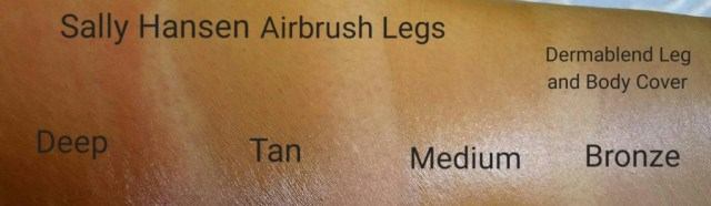 Left to right: Sally Hansen Airbrush Legs Spray in Deep, Tan, and Medium; Dermablend Leg and Body Cover in Bronze: swatched