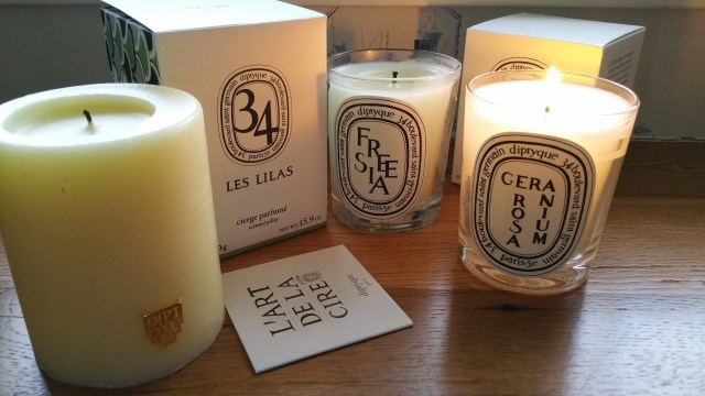 Diptyque Les Lilas, Freesia, and Geranium Rosa Candles