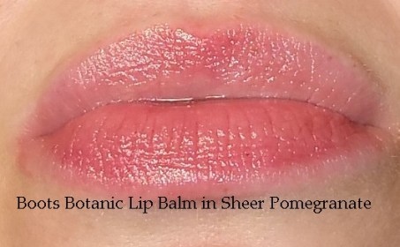 Boots Botanics Tinted Lip Balm in Sheer Pomegranate #040 swatched on lips