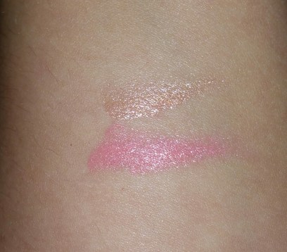 Swatches of Bobbi Brown Sheer Lip Colors for Summer 2016 - Pink Gold (top) and Peach Sorbet (bottom)