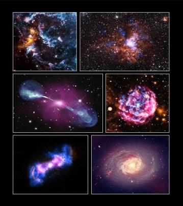 Te same obiekty w widoku kompozytowym uzyskanym z danych innych teleskopów.