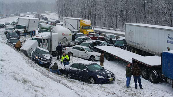 Pennsylvania Turnpike turned into parking lot after 100-car pileup after ice storm.