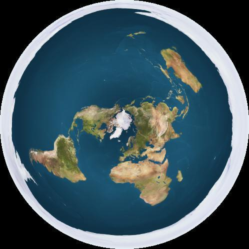 A Flat Earth model depicting Antarctica as an ice wall surrounding a disc-shaped Earth. Credit: Creative Commons 1.0 Generic | Trekky0623