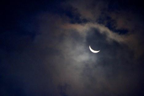 2013-08-11: Lunar Crescent in the Clouds.