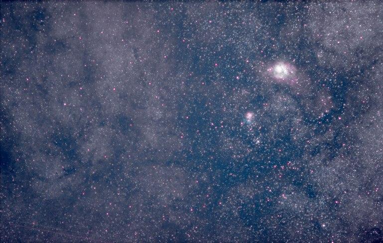 2013-09-29 Lagoon & Triffid Nebulae M21, 10 min 15 sec, f/2, 135mm, ISO 4000..