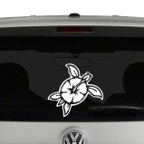 Turtle Hibiscus Flower Hawaiian Vinyl Decal Sticker
