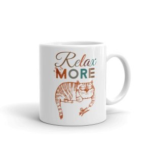 Relax More Lazy Cat Coffee Mug