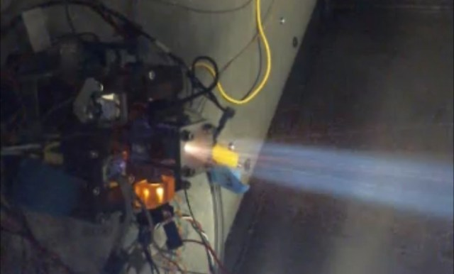 Tethers Unlimited Inc.'s Hydros thruster fires during a test. (Credit: TUI)