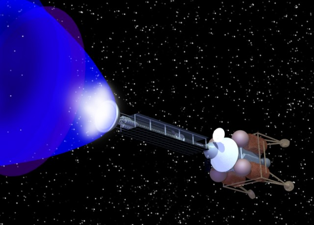 An artist's conception shows a positron rocket engine. (Positronics Research via NASA)