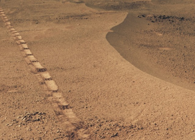 Opportunity view of Mars crater
