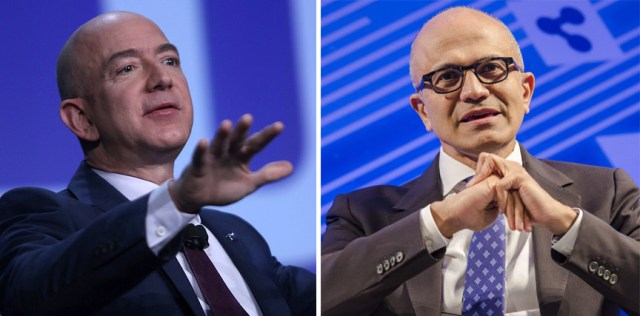 Jeff Bezos and Satya Nadella