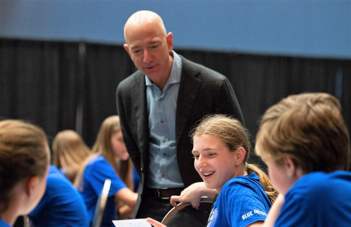 Jeff Bezos and schoolkids