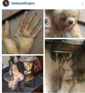 Banky W showing picture of the damage
