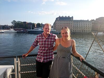 Lillebror och jag på båten.