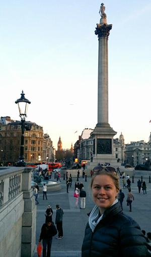 Vid Trafalgar Square.